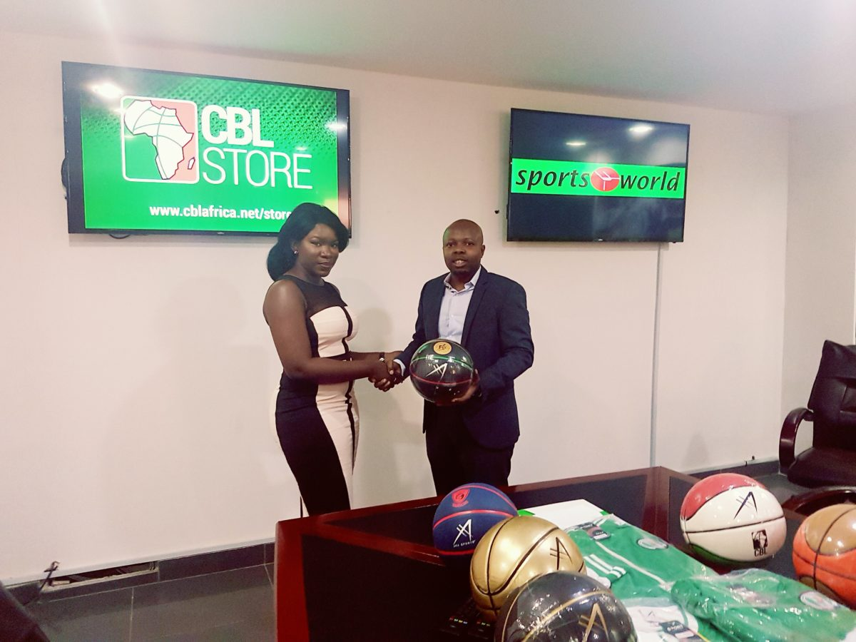 L-R, Communications and Marketing Manager of Sports World Nigeria,Miss Grace and the Chief Operating Officer of Continental Basketball League, Mr Okeahialam